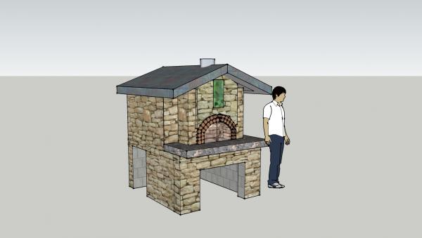 Sketchup oven facad bigger counter